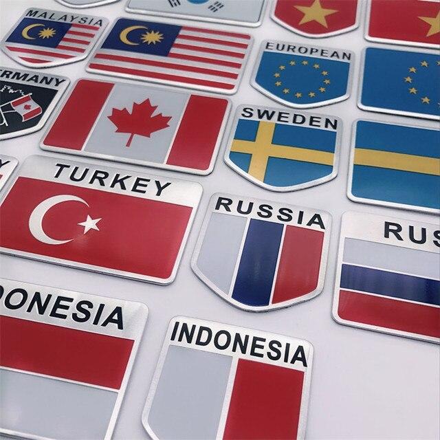Алюминий сплав Америка Франция Англия национальные флаги стайлинга автомобилей Мотоцикл стикеры для багажа эмблема знак, наклейка на автомобиль
