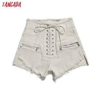 Tangada femmes élégant été denim shorts à lacets taille haute poches décontracté casual streetwear blanc court jeans pantalone 2A19