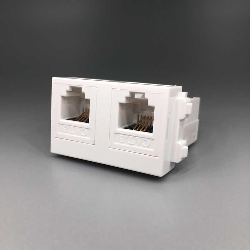 デュアルコネクタ CAT3 RJ11 電話モジュール 2 ポート電話ソケットスロット壁 O