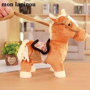 30cm elektryczny pluszowy koń zabawki śpiewanie i chodzenie maszyny kucyk elektroniczny koń śmieszne zabawki dla dzieci prezent urodzinowy dla dzieci