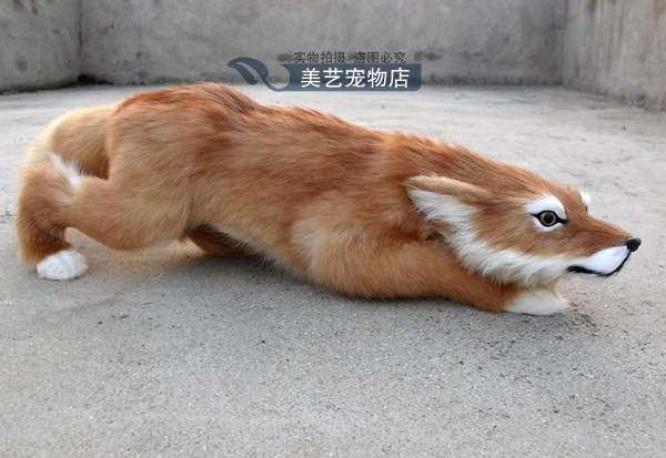 simulation cute fox 63x18x16cm toy model polyethylene&furs fox model home decoration props ,model gift d158