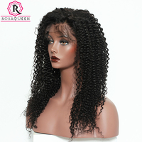 Kinky Curly Lace Front Human Hair Wigs For Women Brazilian Virgin Hair Lace Frontal Wig 130% Density Rosa Queen Natural Black