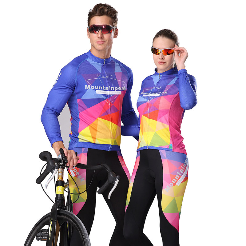 цена на Mountainpeak Spring Summer men Cycling Jersey Long Sleeve Gel Breathable quick-dry icy Pad MTB Road Bike bicycle Clothing Suit