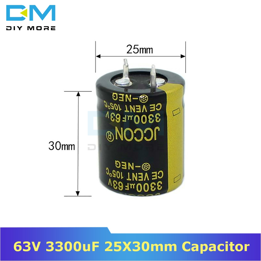 63V 3300uF 25X30mm 25X30 Aluminum Electrolytic Capacitor High Frequency Low Impedance Through Hole Capacitor 25*30mm Diymore