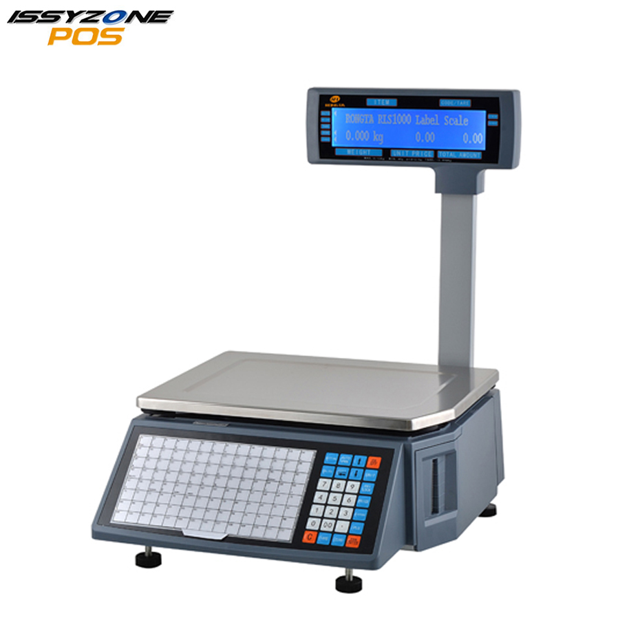 ISSYZONEPOS ILPS001 Electronic label printing Scale Thermal Barcode Price Label Scale with LCD display for Supermarket ink printing labels 100 100mm 500pcs provide custom printing barcode label with logo for shiping mark