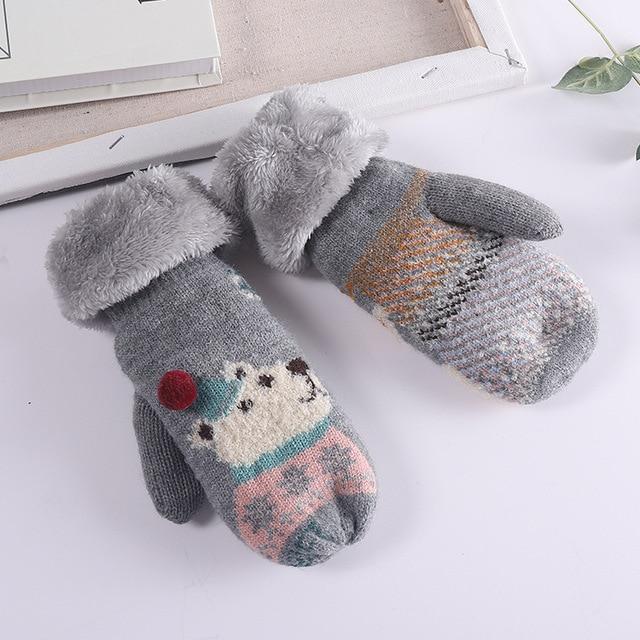 Women Christmas Gloves Elk Gloves Winter Gloves Full Finger Knitted Warm Glove Female Mittens