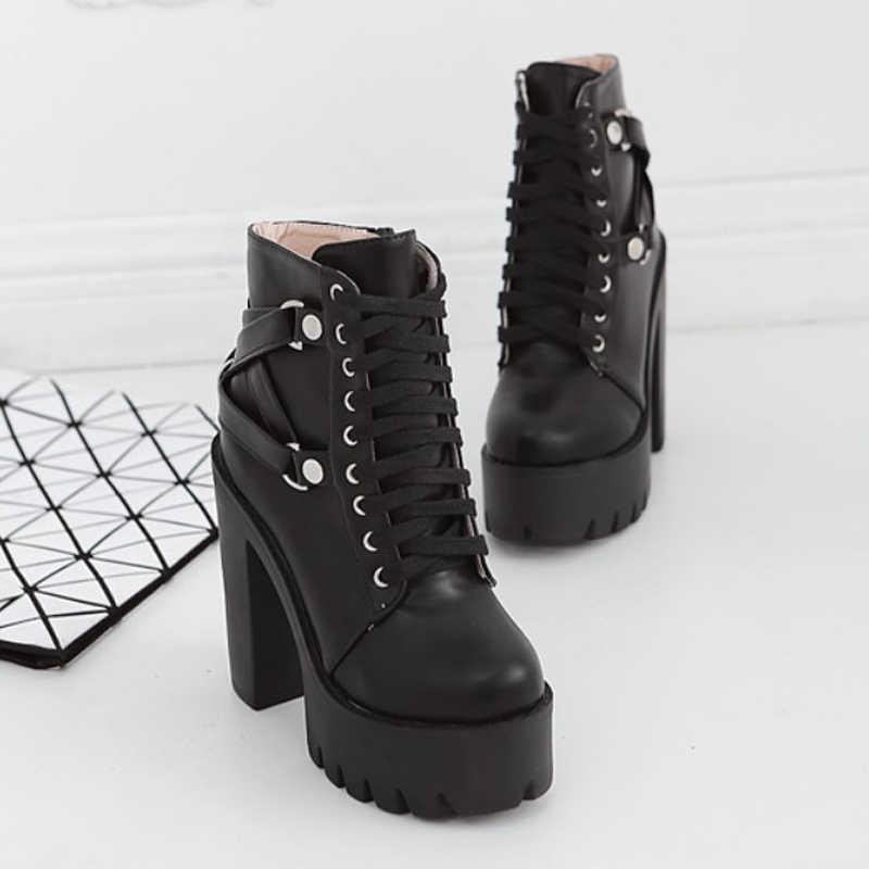 2019 г. Новые осенние ботильоны женские ботинки на высоком квадратном каблуке со шнуровкой женские туфли-лодочки из искусственной кожи на плоской платформе с пряжкой и ремешком