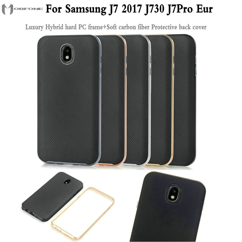 Luxury Hybrid hard PC frame+Soft carbon fiber Protective back cover for Samsung J7 2017 J730 J7Pro EUR phone capas housing shell