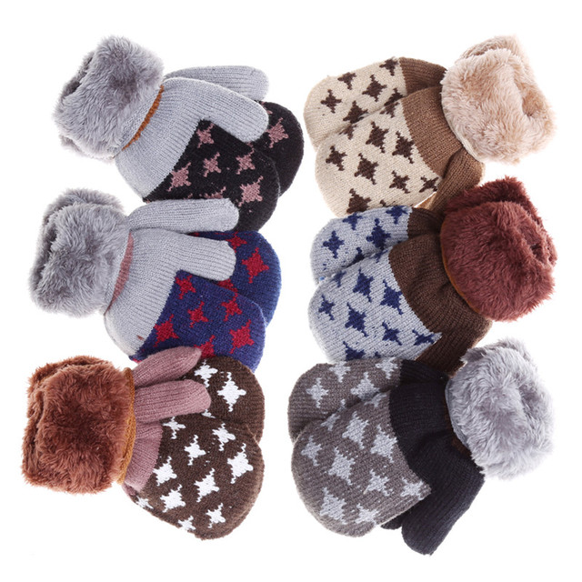 Winter Baby Gloves Full Fingers Boys Girls Mitten Knitting Star