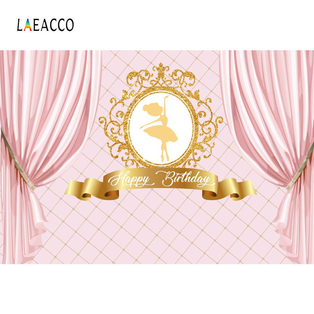 Princess Backdrops Pink Curtain Birthday Party Gold Crown Ballet Banner Portrait Photographic Background Photocall Photo Studio
