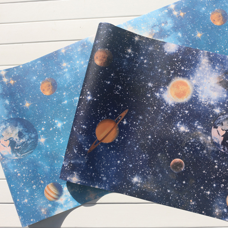 Mural Wallpapers Home Decor Oueter Space Wall Paper for Kids Bedroom Planet Children Night Star Room Wallpapers Blue behang in Wallpapers from Home Improvement