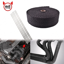 evil energy-15M Header Heat Resistant Exhaust Wrap Resistant Wrap Fireproof Cloth Roll With 6 Cable Ties Car Accessories