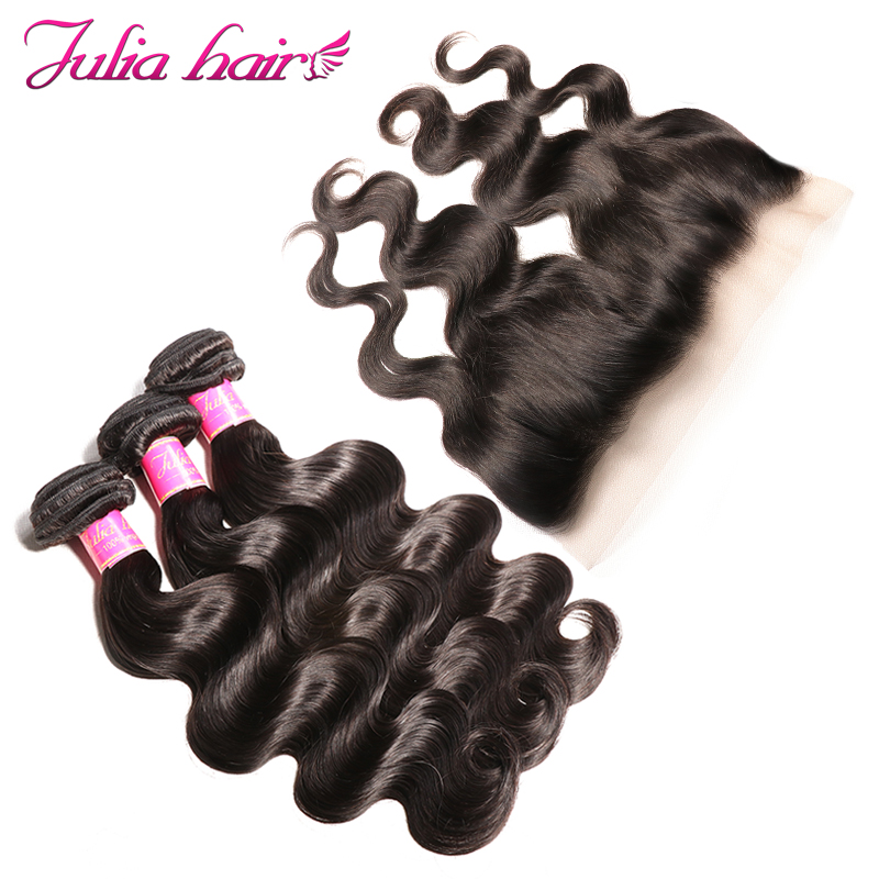 Ali Julia Hair 100 Indian Body Wave Human Hair 3 Bundles With Frontal Closure 13 4