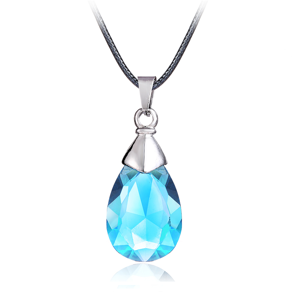 Hot Anime SAO Sword Art Online Metal Necklace Yui's Heart Blue Crystal Pendant Cosplay Accessories Jewelry can Drop-shipping
