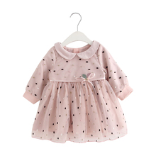 Child Woman Garments 2018 New Autumn Winter Toddler Toddler New child Child Women Dot Princess Get together Pageant Clothes 0-24M pink