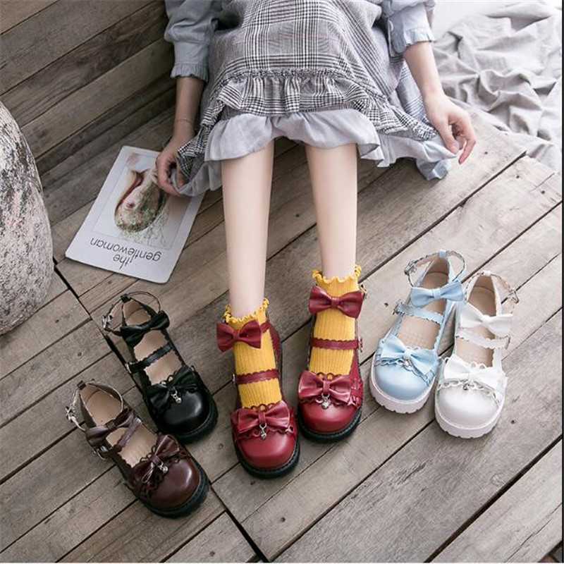 Image 2 - bowknot  LOLITA Shoes JK Uniform Shoes PU Leather  lolita Shoes A947-in Shoes from Novelty & Special Use