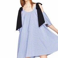 AOWOFS Women S Off Shoulder Mini Short Dress Ladies Blue Vertical Striped Elegant Summer 2017 Mini