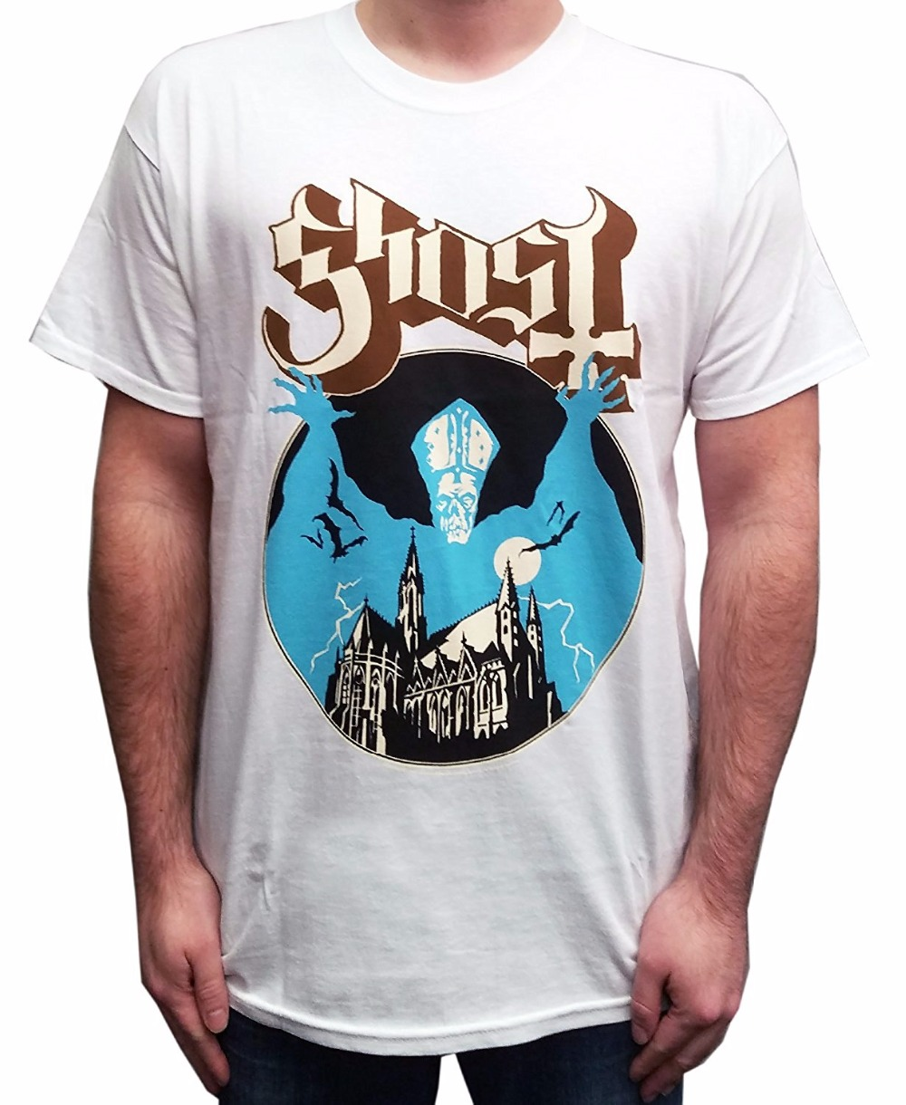 Buy Cool Shirts Crew Neck Merchandising Ghost Mens Opus Eponymous White Version T-Shirt Men Short Compression T Shirts
