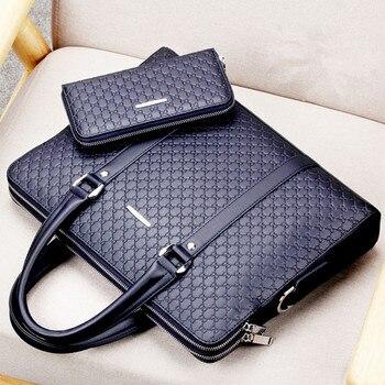 Doppel Schichten Männer der Mikrofaser Synthetische Leder Business Aktentasche Casual Schulter Tasche Messenger Tasche Laptop Handtasche Reisetasche