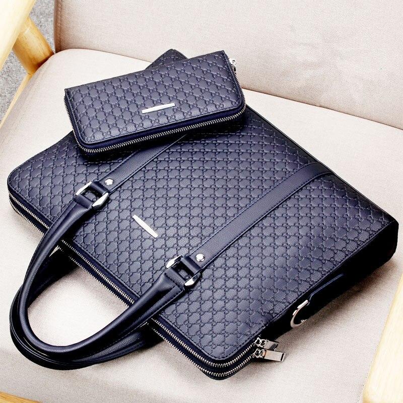 Mallette d'affaires en cuir synthétique microfibre Double couche pour hommes sac à bandoulière décontracté sac à main pour ordinateur portable sac de voyage