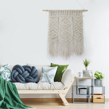 LYN&GY Macrame Wall Art Handmade Cotton Wall Hanging Tapestry with Lace Fabrics Bohemian Hanging Decoration Best Gift cotton fringed handmade woven wall hanging art