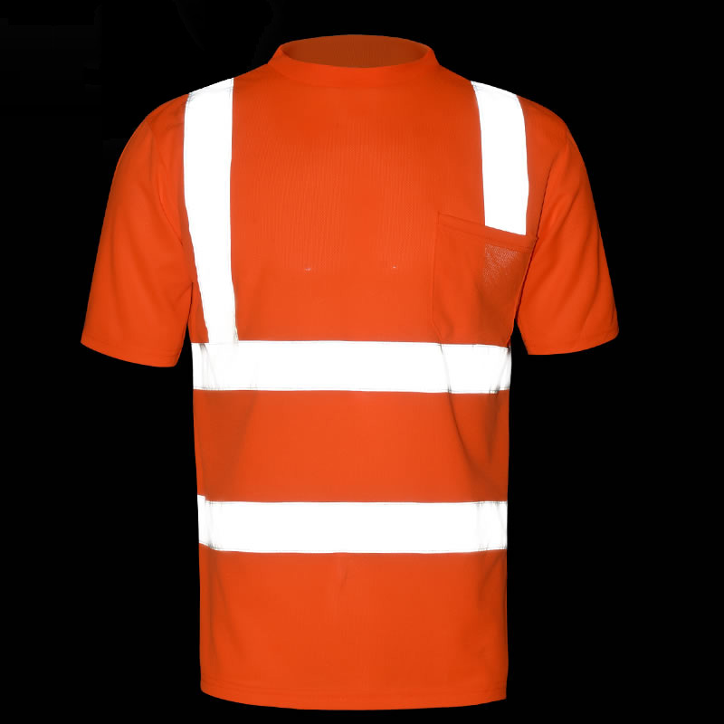High visibility fluorescent orange T-shirt breathable reflective t-shirt safety work shirt for men classic plaid pattern shirt collar long sleeves slimming colorful shirt for men