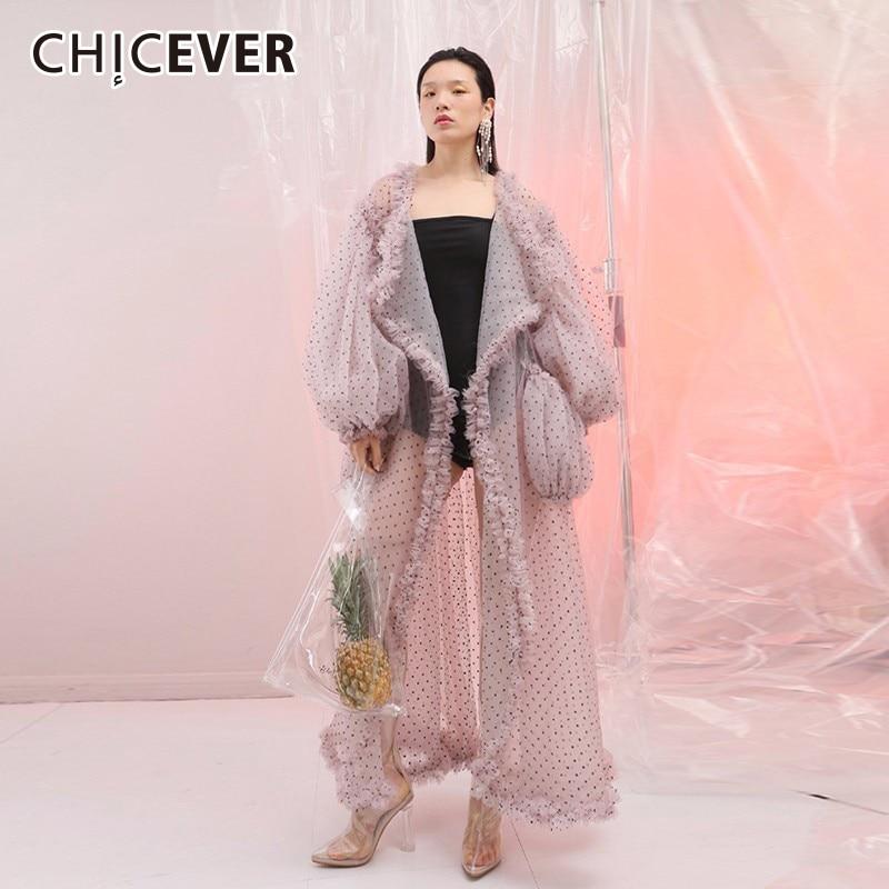 CHICEVER Trench Coat Female Ruffles Lantern Sleeve Pocket Dot Patchwork Maxi Beach Windbreaker Women Coats Female Summer 2017