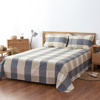 1Pc Flat Sheet 100% Cotton Home Bed Sheet Plaid Printed Soft Twin/Full/Queen / King Size