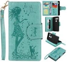 Зеленый девушка кошка тиснение карты 9 Слот Бумажник кожаный Стенд Флип Новый чехол для LG Nexus 5X случае