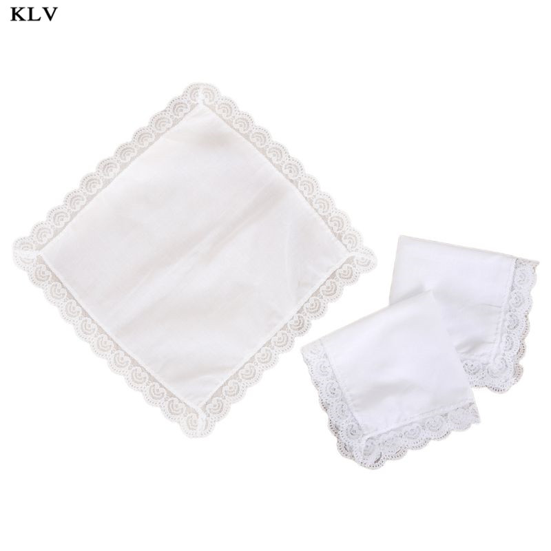 25x25cm Women Plain White Square Handkerchiefs Crochet Peach Heart Scalloped Lace Trim Bridal Wedding DIY Cotton Napkin Hankies