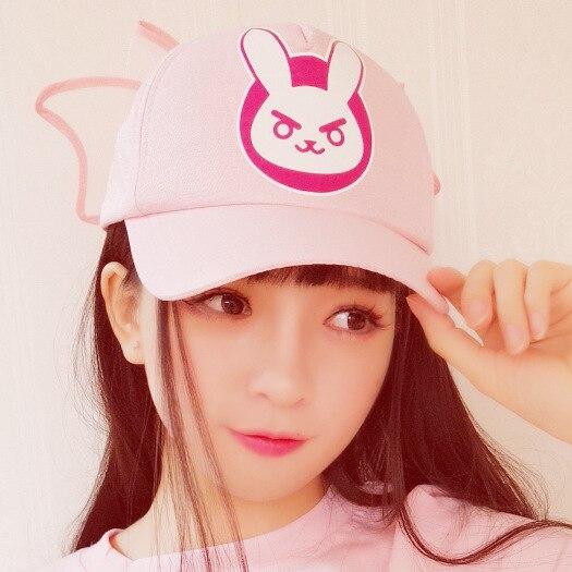 Ow D. Va Dva Logo Cosplay Hüte Einstellbare Rosa Nette Mädchen Baumwolle Baseball Caps Zubehör Halloween Geschenk