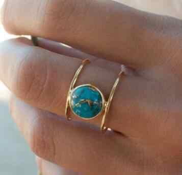 ทองสีหินสีเขียวแหวน Big Statement หินธรรมชาติเครื่องประดับ Pary งานแต่งงานแหวนแฟนที่ดีที่สุดของขวัญ