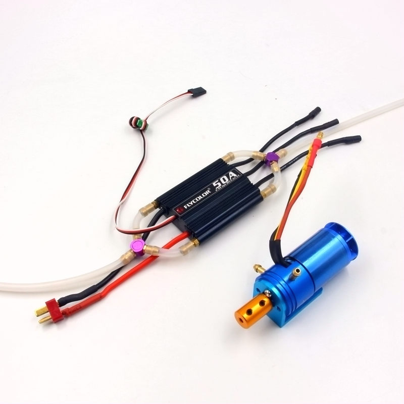RC boat power system combo motor and ESC brushless 2862 2800KV 50A ESC water cooling for 55cm boats low price sell brushless esc for car boats rc model 50a brushless esc for boat with water cooling system brake xxd50a