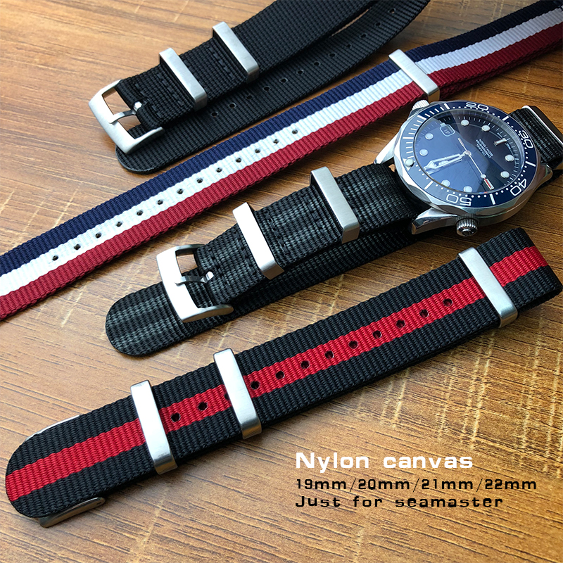 US $16 88 |19/20/21/22mm High Quality Watchband Canvas Nylon Sport Strap  for Omega Seamaster Rolex Submariner Universal Watch Accessories-in