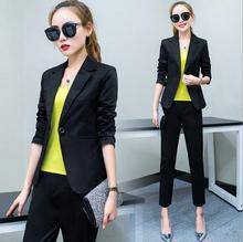 2Pcs Fashion women's Long Sleeve Work and Office Wearing Plus Size cute cool Elegant Turn-down Collar Pants Suits