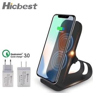 Image 1 - Bezprzewodowa ładowarka Qi stojak 10W szybkie ładowanie bezprzewodowa ładowarka do telefonu indukcja dla iPhone XS Max XR X 8 Samsung S8 S9 Plus