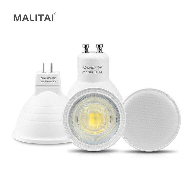 LED זרקור GU10 MR16 LED הנורה 220 v 7 w ללא Dimmable GU10 LED מנורת GU5.3 למטה אור אלומיניום PCB עבור מקורה בית ספוט תאורה