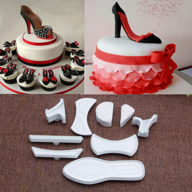 9pcs High Heeled Shoes Fondant Cake Cutter Mold Sugarcraft Mold