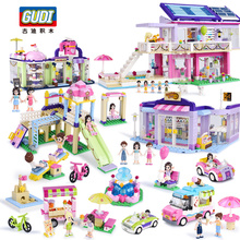 City Girls Icecream Car Park Party House Coffee Shop Fountain Square Block Set Building Legoes Brick Toy Friends