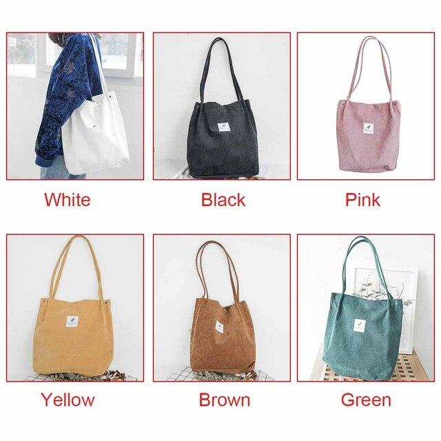 High Capacity Women Corduroy Tote Ladies Casual Shoulder Bag Foldable Reusable Shopping Beach Bag WML99 2