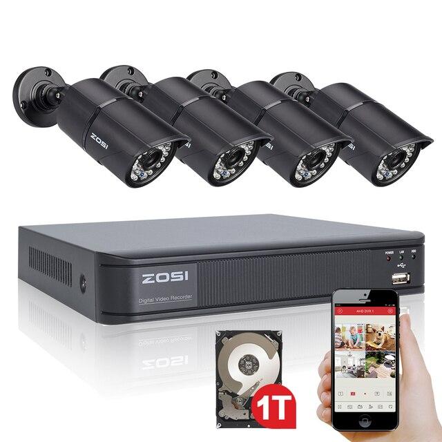 ZOSI 8-КАНАЛЬНЫЙ 720 P DVR Наблюдения 4 ШТ. 1200TVL 1.0MP Открытый CCTV Камеры Системы Безопасности 1 ТБ Жесткий Диск