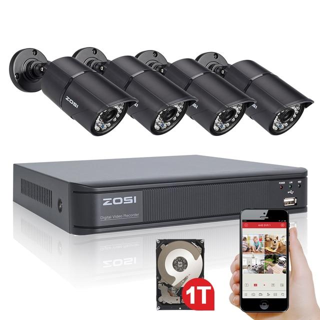 Zosi 1.0mp 8ch 720 p dvr de vigilancia 4 unids 1200tvl cctv de seguridad al aire libre sistema de cámara de 1 tb de disco duro