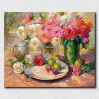 Decoration Wall Pictures Flowers Oil Paintings On Canvas Environmentally Handmade Oil Painting Gift For Friends