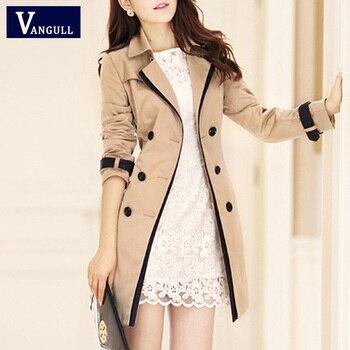 zapatos de separación f0238 608cb Gabardina VANGULL para mujer 2018 moda cuello vuelto doble pecho contraste  Color abrigos largos talla grande Casaco feminino