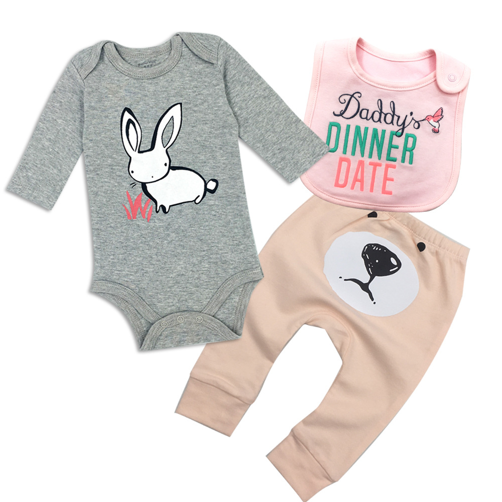 2018 The New Pure Cotton Cartoon Kids Clothes Baby Boys And Baby Girls Mouth Towel And Jumpsuit And Pants 1suit 3pcs