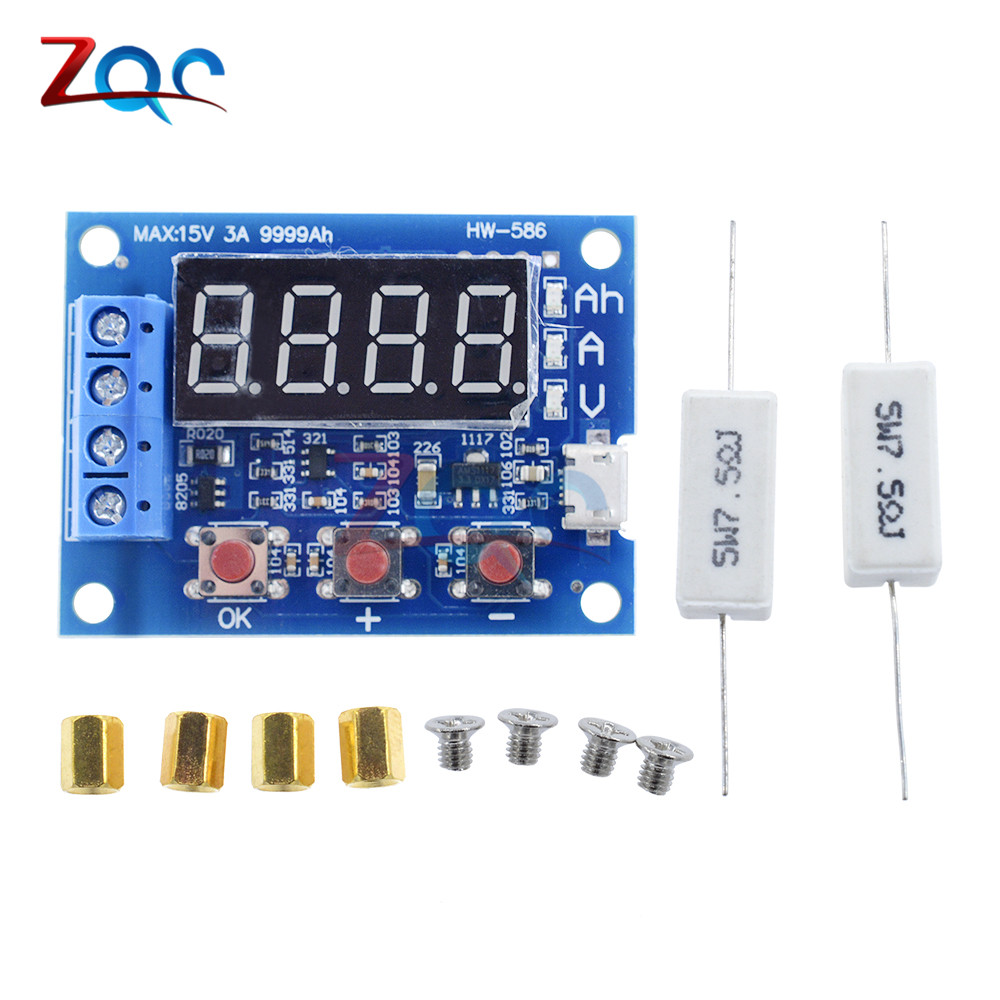 HW-586 1.2v 12v 18650 Li-ion Lithium Battery Capacity Tester + Resistance Lead-acid Battery Capacity Meter Discharge Tester battery capacity tester resistance testing mobile power lithium lead acid battery can be 18650 serial line 20w page 6