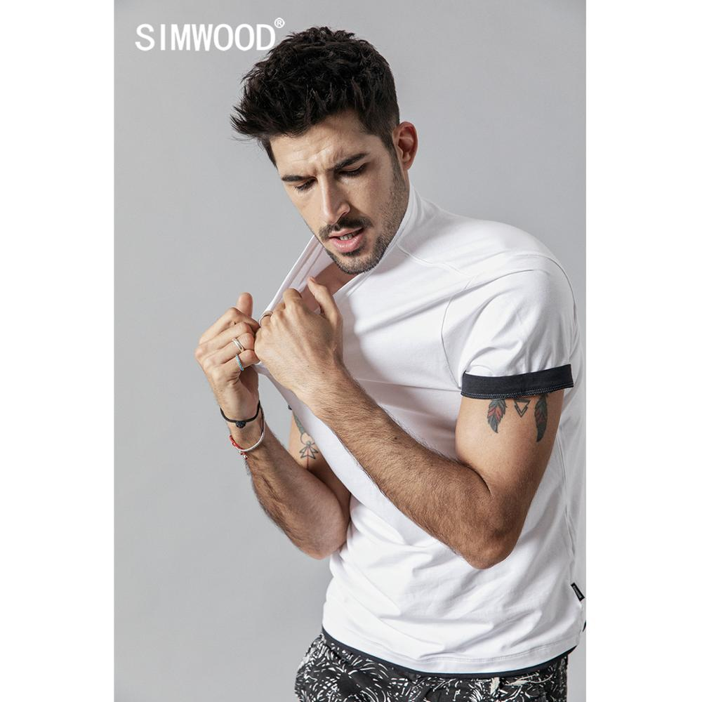 SIMWOOD 2019 summer new   t     shirt   men contrast bindings   t  -  shirt   casual o-neck top tees high quality brand clothing tshirt 190354