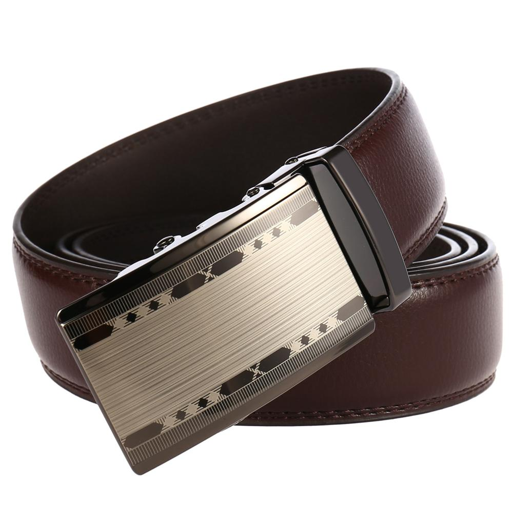 2019 Famous Brand Balck Belt Men Hot Sale Metal Automatic Buckle Strap Male Brown Top Quality Genuine Luxury Leather Belts Men in Men 39 s Belts from Apparel Accessories