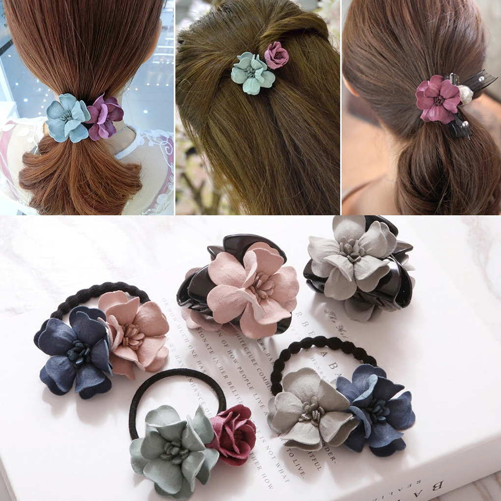10PCS Random Color Hair Clips Headwear Brooch Breastpin Accessories Multicolor Flower DIY Hair Accessories