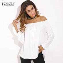 8d38d07d64665 ZANZEA Blusas Femininas 2018 Sexy Women Blouses Ladies Solid Shirred Off  Shoulder Tops Casual Blouse Shirts 3 Colors